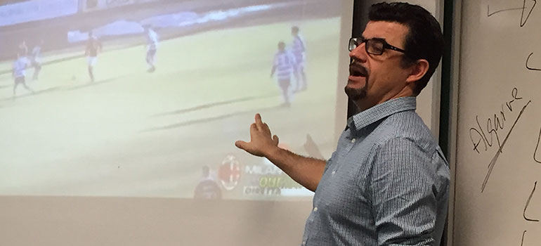 UBC Okanagan Associate Professor Luis LM Aguiar uses a variety of media sources to teach about the sociology of Cristiano Ronaldo. Photo Credit: UBC Okanagan